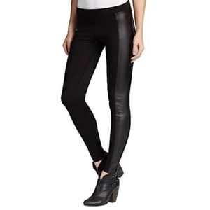 Hue Women's Faux-Leather Panel Stretch Leggings